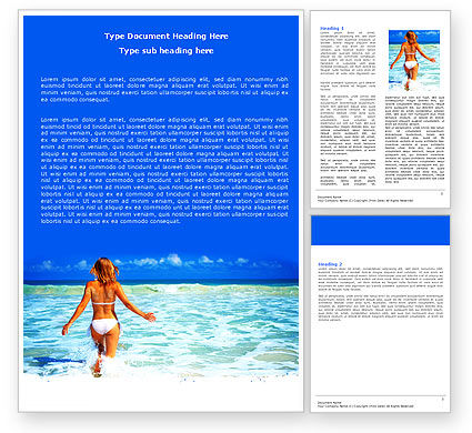Careers/Industry: Girl Running On The Waves Word Template #05774