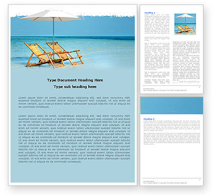 Beach Bench Word Template, 05791, Careers/Industry — PoweredTemplate.com