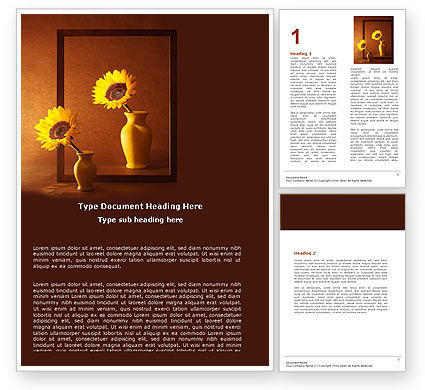 Art & Entertainment: Sunflower Still Life Word Template #05796