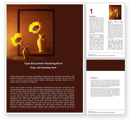 Sunflower Still Life Word Template, 05796, Art & Entertainment — PoweredTemplate.com