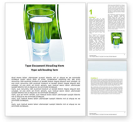 Glass of Water Word Template, 05815, Food & Beverage — PoweredTemplate.com