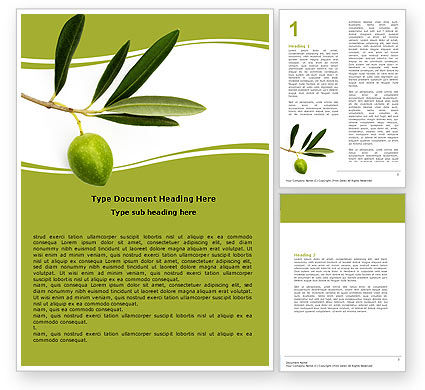 Agriculture and Animals: Olive Tree Word Template #05819