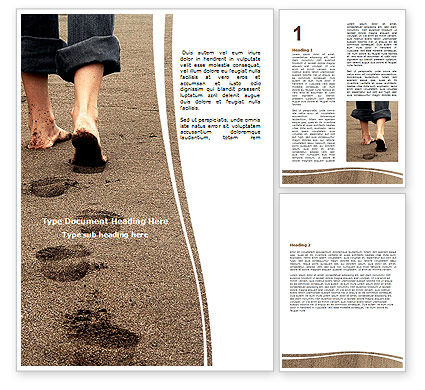 Sand Footprints Word Template, 05834, Religious/Spiritual — PoweredTemplate.com