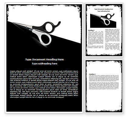 Consulting: Black And White Scissors Word Template #05835