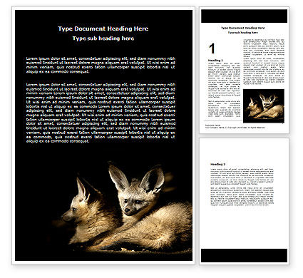 Bat-eared Fox Word Template, 05837, Agriculture and Animals — PoweredTemplate.com