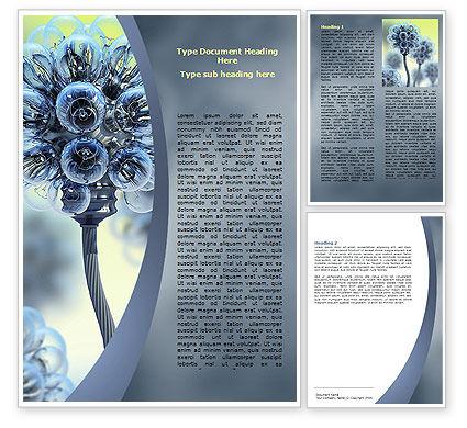 Electric Flower Word Template, 05839, 3D — PoweredTemplate.com