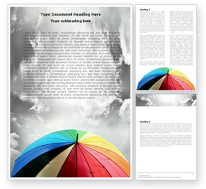 Rainbow Umbrella Word Template, 05861, Consulting — PoweredTemplate.com