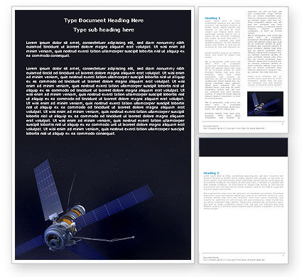 Space Satellite Word Template, 05872, Technology, Science & Computers — PoweredTemplate.com