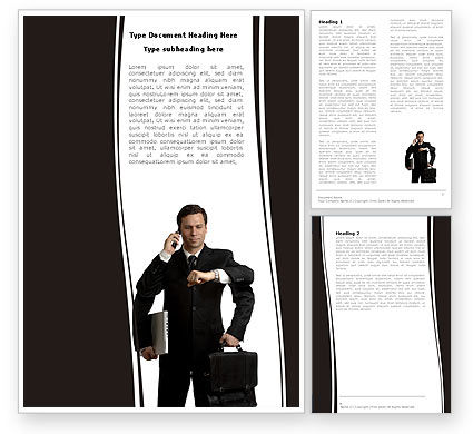 Busy Man Word Template, 05882, Business — PoweredTemplate.com