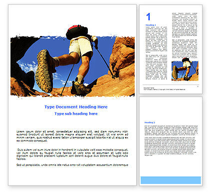 Sports: Mountain Hiking Word Template #05905