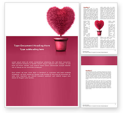 Careers/Industry: Fuchsia Heart Word Template #05917
