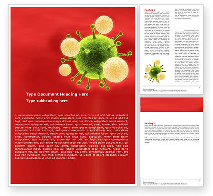 Green Virus On A Red Background Word Template, 05936, Technology, Science & Computers — PoweredTemplate.com
