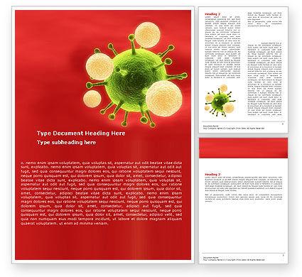 Technology, Science & Computers: Green Virus Op Een Rode Achtergrond Word Template #05936
