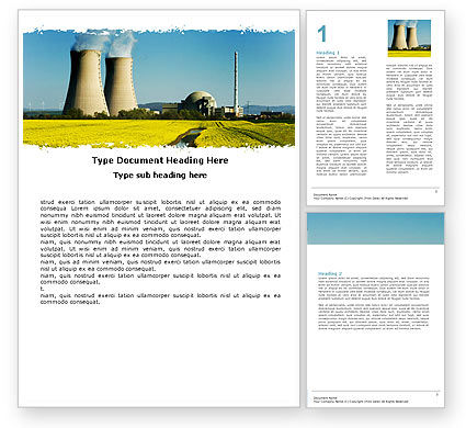 Atomic Power Plant Word Template, 05946, Utilities/Industrial — PoweredTemplate.com