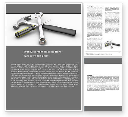 Tools In Gray Color Word Template, 05954, Utilities/Industrial — PoweredTemplate.com
