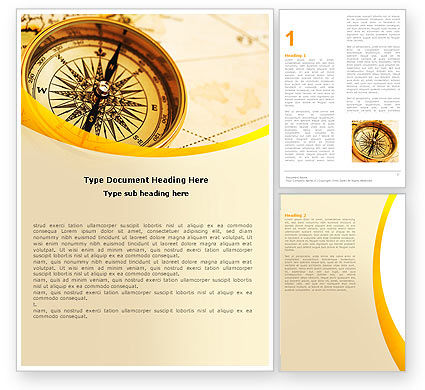 Compass Lying On The Map Word Template, 05974, Business Concepts — PoweredTemplate.com