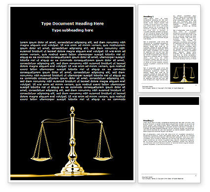 Justice Symbol Word Template, 05997, Legal — PoweredTemplate.com