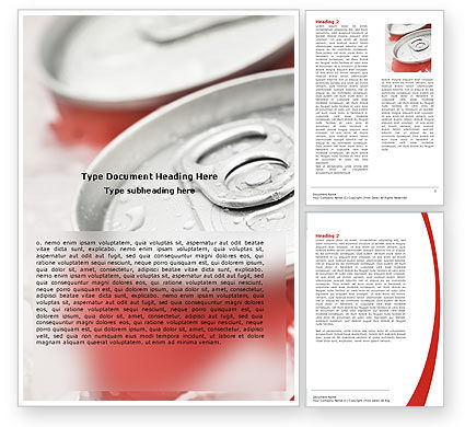 Soda Cans Word Template, 06003, Food & Beverage — PoweredTemplate.com