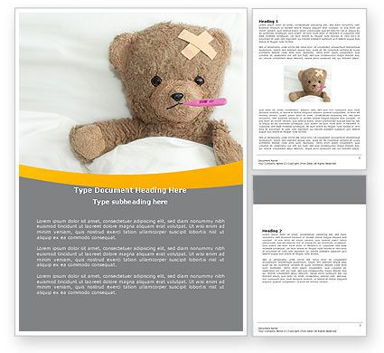 Medical: Wounded Teddy Bear Word Template #06030