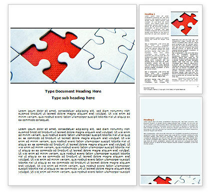 Last Red Piece to Complete Puzzle Word Template, 06039, Consulting — PoweredTemplate.com