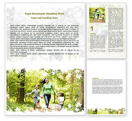 Mother with Daughters Word Template, 06047, People — PoweredTemplate.com