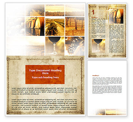 Winegrowing Word Template, 06049, Agriculture and Animals — PoweredTemplate.com