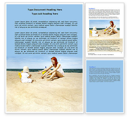 Baby on Beach Word Template
