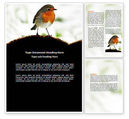 Robin Word Template, 06074, Agriculture and Animals — PoweredTemplate.com