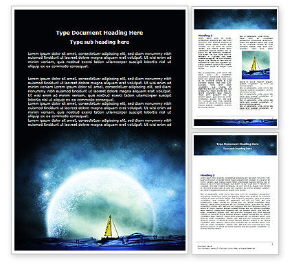 Moonlit Word Template, 06075, Nature & Environment — PoweredTemplate.com