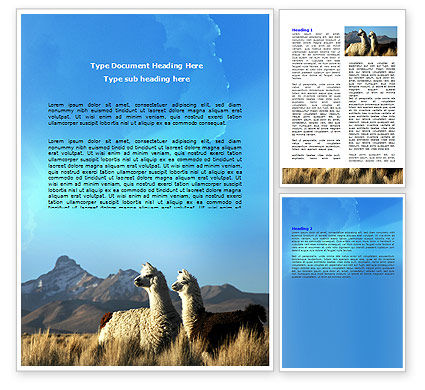 Llama Word Template, 06079, Agriculture and Animals — PoweredTemplate.com