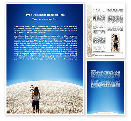 Nature & Environment: Girl At The Summer Field Word Template #06081