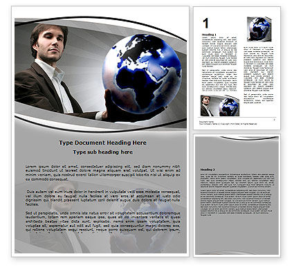 Holding Globe Word Template, 06091, Business Concepts — PoweredTemplate.com