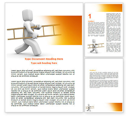 Business Concepts: Ladder Man Word Template #06111