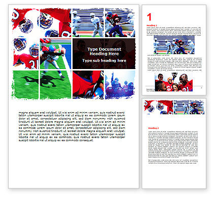 Sports: American Football Team Word Template #06120