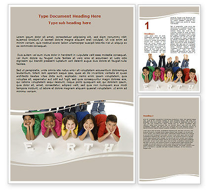 Children of Earth Word Template, 06126, Education & Training — PoweredTemplate.com