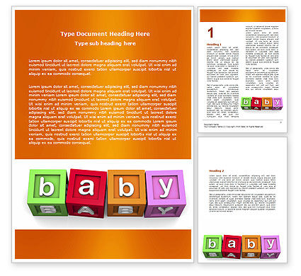 Education & Training: Baby Cubes Word Template #06127