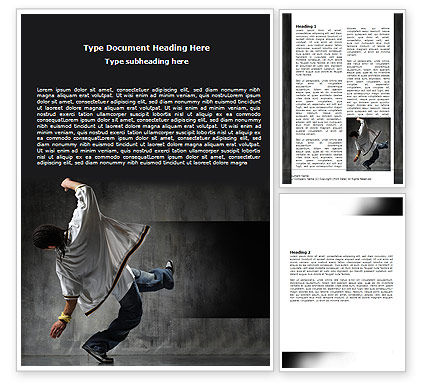 Art & Entertainment: Break Dance On The Street Word Template #06133