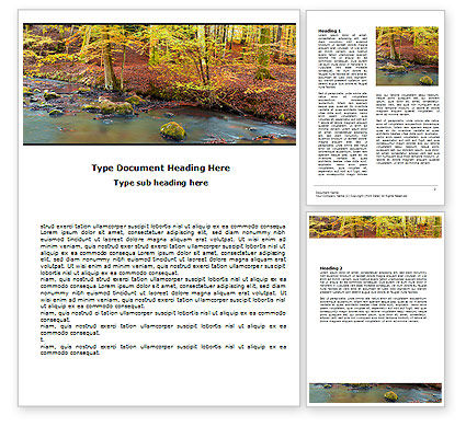 Autumn Scenery Word Template, 06147, Nature & Environment — PoweredTemplate.com