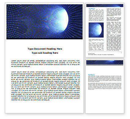 Technology, Science & Computers: Blue Sparkles Tunnel Word Template #06178
