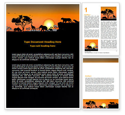 Nature & Environment: Savanna Sunset Word Template #06202