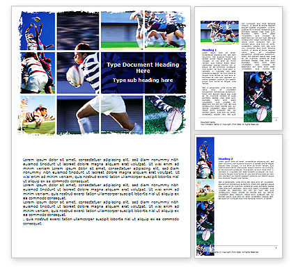 Rugby Collage Word Template, 06219, Sports — PoweredTemplate.com