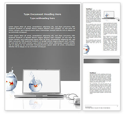 Golden Fish On The Laptop Word Template, 06236, Business Concepts — PoweredTemplate.com