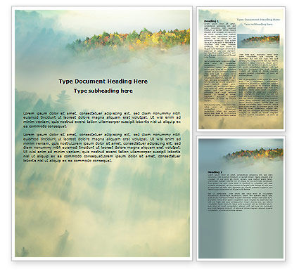 Nature & Environment: Autumn Mountain View Word Template #06237