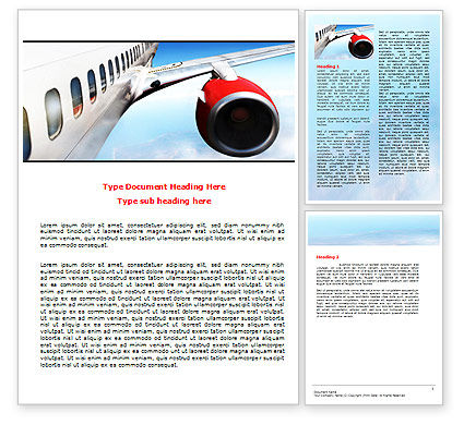 Commercial Airliner In Flight Word Template, 06263, Cars/Transportation — PoweredTemplate.com
