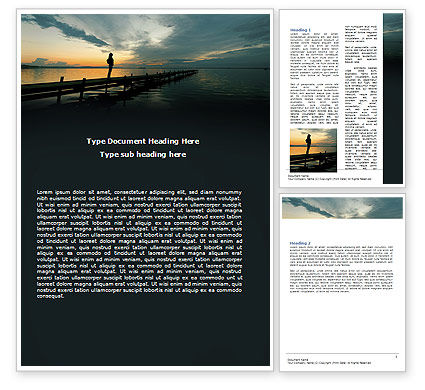 Religious/Spiritual: Sunset On The Sea Word Template #06274
