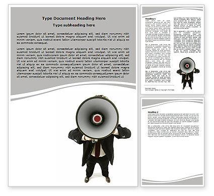 Speaker With Megaphone Word Template, 06285, Careers/Industry — PoweredTemplate.com