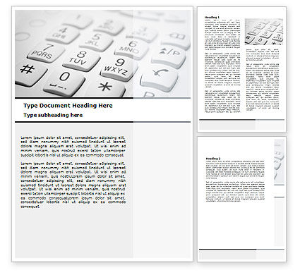 Telecommunication: Phone Dial Pad Word Template #06310