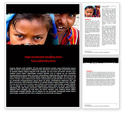 Children Around The World Word Template, 06312, People — PoweredTemplate.com