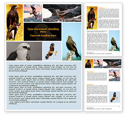 Bird Of Prey Word Template, 06331, Agriculture and Animals — PoweredTemplate.com