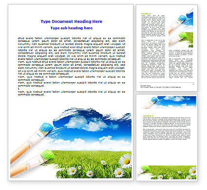 Nature & Environment: Painting Summer Word Template #06354